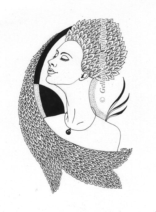 Рисунки тушью женщины
